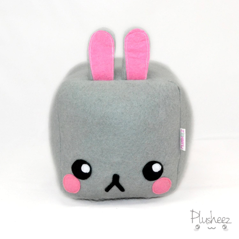 Cute Bunny Pillow : Square Bunny plushie pillow cushion cute rabbit kawaii grumpy