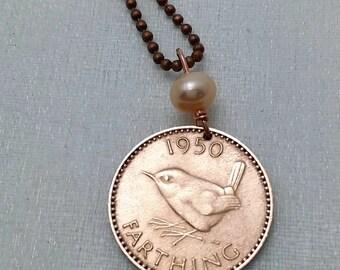 WREN BIRD necklace - English - songbird - bird necklace - wren farthing necklace - bird lover gift - sparrow chickadee Swallow Robin oiseau
