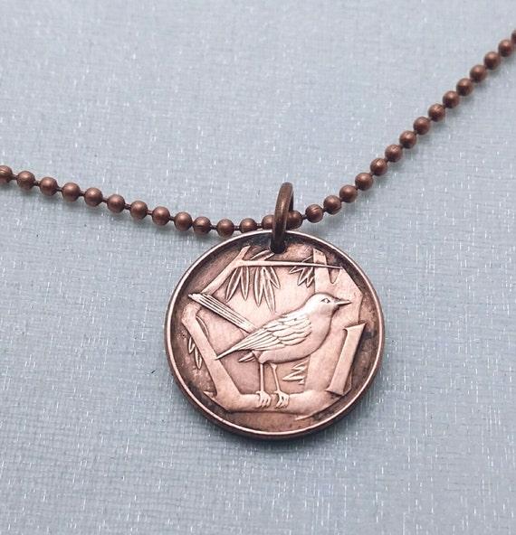 Coin Jewelry - BIRD COIN NECKLACE - Cayman Islands - song bird - sparrow necklace - bird on tree coin pendant - bird necklace - bird jewelry