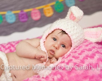 Bunny ears hat, bunny hat in white fleece with pink ears and trim. Newborn through adult sizes available. made to order.