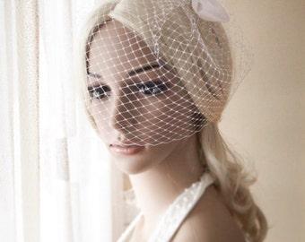 Simple, Classic & Timeless Bow Birdcage Veil Ivory Veil Blusher Veil, White Birdcage Veil with bow {Denise}