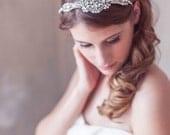 Delicate Art Deco Headband, Silver, Crystal Pearl Great Gatsby Headband, Birdcage Veil, blusher veil, Mini Veil Headband, Crystal Headpiece