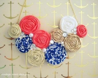 Nautical Statement Necklace, Rosette Statement Necklace, Navy & Coral Necklace, Rolled Rosetted Bib Necklace, Summer Fashion