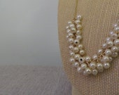 Gold Necklace with white Pearl Clusters-Custom Length