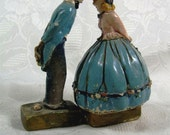 Vintage Young Man and Girl Kissing Chalkware Couple, Innocent Lovers, Dutch, Southern Miss, Valentines, Boat Captain