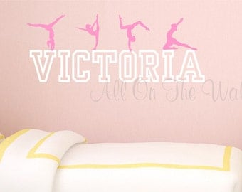 Gymnastics Wall Decal Personalized Girl Name Teen Baby Nursery Decor Dance  Decals Gymnast Decals Sports Vinyl