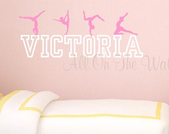 Gymnastics Wall Decal Personalized Girl Name Teen Baby Nursery Decor Dance Decals Gymnast Decals Sports Vinyl Lettering Girls Bedroom Decor