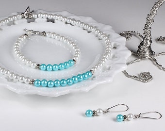 Robins Egg Blue Bridesmaid Jewelry Pearl Jewelry Set Aqua Blue Bridesmaid Set Wedding Jewelry Turquoise Necklace Bracelet Earrings Pool Blue