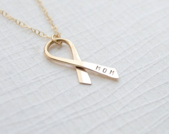 Personalized Cancer Ribbon Necklace, Breast Cancer Awareness Necklace, Cancer Ribbon - 1290