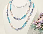 Sunset - Long Crystal, Glass & Pearl Necklace in the Colors of Sunset - Aqua, Pink, Purple - Romantic, Gifts for Her, Gifts Under 50