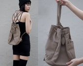 Brown Faux Leather Drawstring Backpack Purse