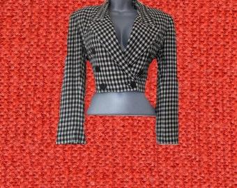 1980s vintage cropped black white jacket blazer size large 8 10