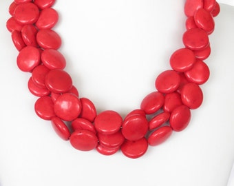 Red Necklace Red Statement Necklace Red Bridal Red Bridesmaid Gift Bridesmaid Jewelry Red Valentines Gift