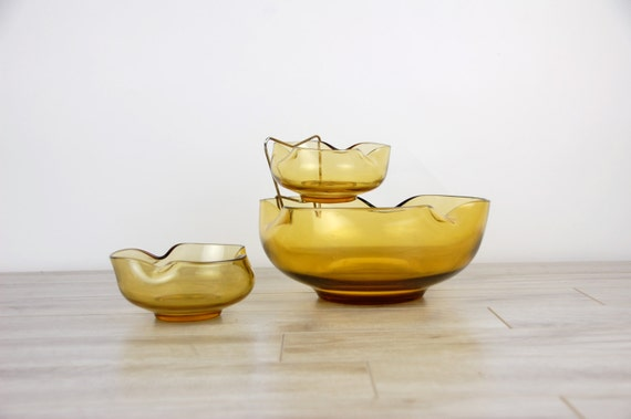 Gold Yellow Retro Glass Anchor Hocking Double Bowl Party Chip & Dip Set