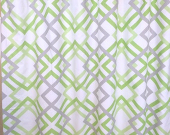 Kiwi Green Winston Geometric Curtains. Window Drapes. All Sizes. Modern Curtains. Drapery. Lime Green