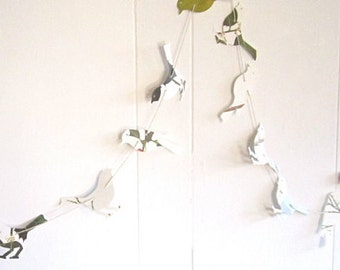 Bird Garland, Nature Wedding, Bird Theme, Bird Party, Woodland Wedding, Woodland Fairies, Leaf Pages, EcoFriendly Party Decor