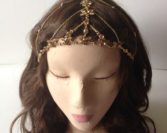 Intricate Gold Crystal and Chain Gypsy Crown