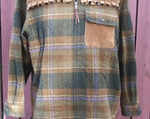 Junk Gypsy Clothing Plaid Wool Jacket with Suede Trim - Upcycled Ralph Lauren Size Petite Medium