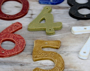 House Numbers - Set of 5 - Choose Your Color - Nautical Royal Blue Rustic Red Olive Green Mustard Moss - Curb Appeal - MADE TO ORDER