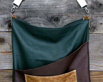 Leather Mens Women's Green, Brown and Distressed Tan Messenger Purse Bag