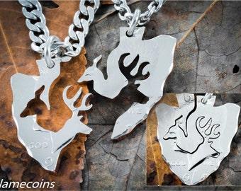 Couples Arrowhead Necklaces with Buck and Doe interlocking deer design, Hand Cut Half Dollar Set