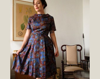 Vintage 1960s Atomic Print Party Dress . Classic Sixties Cuteness . Size Medium