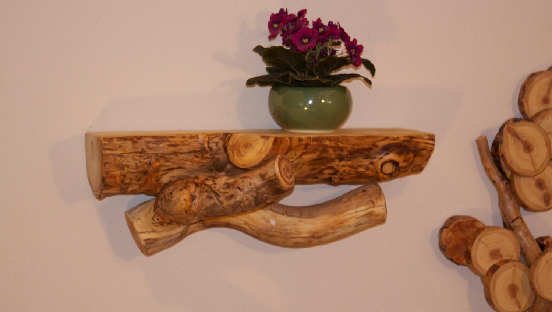 Floating aspen log shelf modern rustic decor accent shelf for Aspen logs for decoration