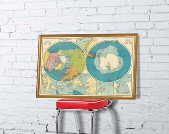Arctica map - Antarctica map - Polar Regions map - Wall map fine print
