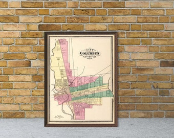Map of Columbus - Old map fine print