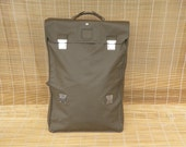Vintage Swiss Army Olive Green Waterproof Vinyl Tri-Fold Over Briefcase Duffle Bag Foldable Case