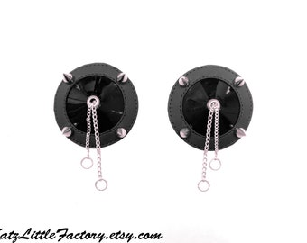Spiky Shiny Black PVC Pasties With Chains
