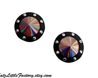 Round Studded Iridescent Pewter Rainbow And Black PVC Pasties Holographic Goth Burlesque Alternative Nippies