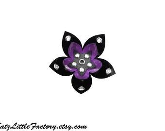 Medium Purple and Black PVC Cyber Flower Hair Clip