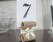 Rustic Chic Burlap Table Number Holders - Wedding Decor - Twenty Five (25) with White Burlap & Pewter Satin Ribbon