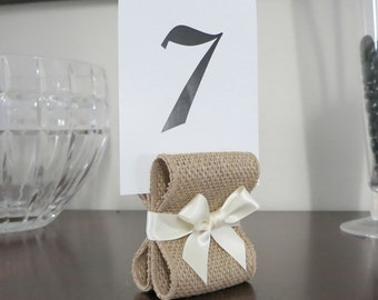 Rustic Chic Burlap Table Number Holders - Wedding Decor - Ten (10) with Burlap & Ivory Satin Ribbon - Customize Your Colors