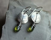 Silver Leaf Earrings with Vessonite- Green Earrings, Leaf Earrings, Artisan Earrings