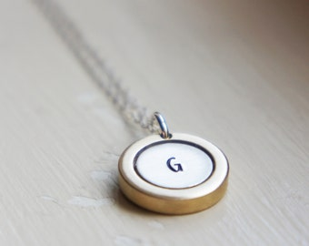 Initial Necklace Letter Raw Brass Sterling Silver Gold Jewelry Grandma Mothers Necklace