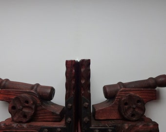 Vintage Set of Wooden Cannon Bookends 1960s