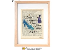 A dream is a wish Cinderella quote dictionary print-Cinderella art print-Nursery print-Cinderella book page-Upcycled Dictionary NATURA PICTA