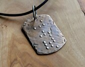 Men's Braille Secret Message Necklace - Bronze & Leather Unisex