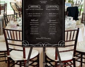Printable Wedding Party Poster Sign -- Chalkboard Background, Black and White Calligraphy