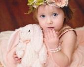 Flower Crown in blush and ivory- Flowergirl hairpiece - Dusty Rose Wedding - Newborn Photo Prop - Wedding Crown - Floral Hairpiece