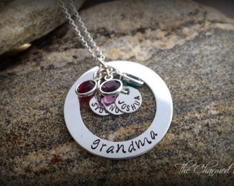 Grandma's Brag Necklace -Hand Stamped Grandma Jewelry - Personalized Jewelry - Mother's Day - The Charmed Wife - Family Birthstone jewelry