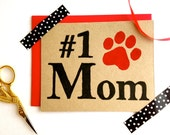 Dog Mom Card Set ECO Friendly Mothers Day Best Mom #1 Cat Mother % to ANIMAL RESCUE Pawprint New Pet Sympathy Dog, Cat Lover Paw Print Black
