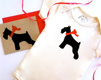 Schnauzer Baby Bodysuit Organic Infant Clothes Miniature Dog Romper % to ANIMAL RESCUE Eco Friendly One Piece Creeper Card 3-6 mo, 9-12 mo