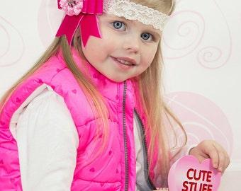 Pink Headband, Pink Bow Headband, Valentines Day Headband, girls headband, baby headband, toddler headband, holiday headband, pageant