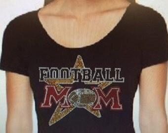 Football Mom All Star Bling Custom Rhinestone T Shirt