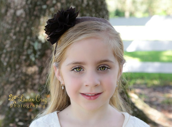 Brown Lace and Sparkle Flower Headband, wide stretch lace, or order on an alligator clip, by Lil Miss Sweet Pea Baby Boutique