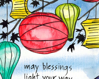 166. Zen blessings paper lantern card - mix and match any 6 designs