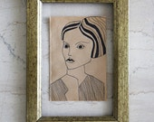 Woman Ink Drawing - Original Illustration - Cheap Art - Brown Paper - Small Format Original Art - Affordable art - Art Deco - Avant Garde